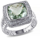 Concerto 4TCW Green Amethyst and Diamond Sterling Silver Cocktail Ring