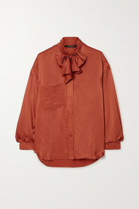 Mother of Pearl Net Sustain Elaine Pussy-bow Embellished Satin-jacquard Shirt - Brick