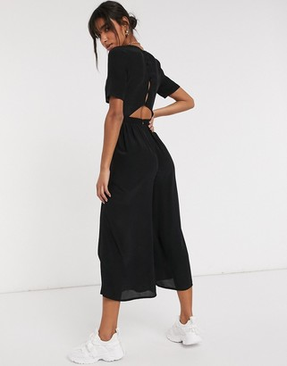 ASOS DESIGN tea jumpsuit with button back detail in black