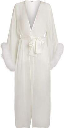 Gilda & Pearl Diana Marabou Long Silk Robe
