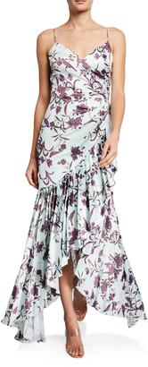 Flor Et. Al Bird Print Cami Gown w/ Pleated Ruffles