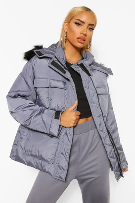 boohoo Pocket Detail Hooded Parka