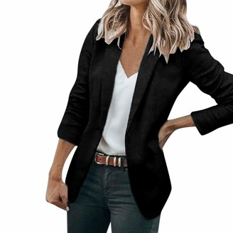 Kalorywee Sale Cleance Blazer KaloryWee Women's 3/4 Ruched Sleeve Blazer Open Front Lightweight Office Work Evening Formal/Casual Cardigan Jacket Black