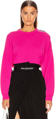 Balenciaga Long Sleeve Crew Neck Sweater in Shocking Pink | FWRD