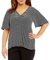 Gibson & Latimer Plus Striped Surplice Knit Tee