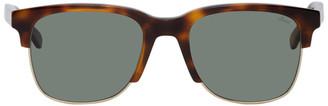 Brioni Tortoiseshell and Gold Square Sunglasses