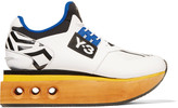 Y-3 Ruyk wood-paneled leather platform sneakers