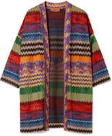Missoni Metallic Crochet-knit Cardigan - Red