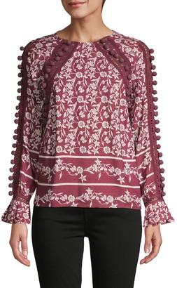 A La Plage By Joie Crochet-Trim Floral Blouse
