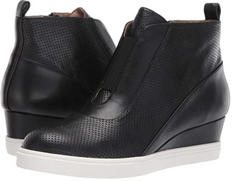 Linea Paolo Anna Wedge Sneaker (Black Perforated Nappa Leather) Women's Wedge Shoes