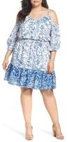 Eliza J Plus Size Women's Cold Shoulder Blouson Dress