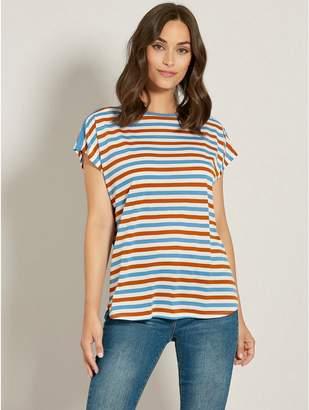 M&Co Stripe slash neck t-shirt