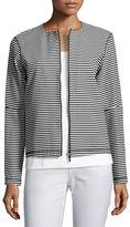 Lafayette 148 New York Vivienne Striped Zip-Front Jersey Jacket, Black/White