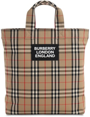 Burberry Logo Printed Check Canvas Tote Bag