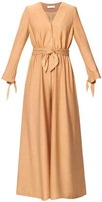 Paisie V Neck Jumpsuit With Button Front & Wrap Belt In Sand