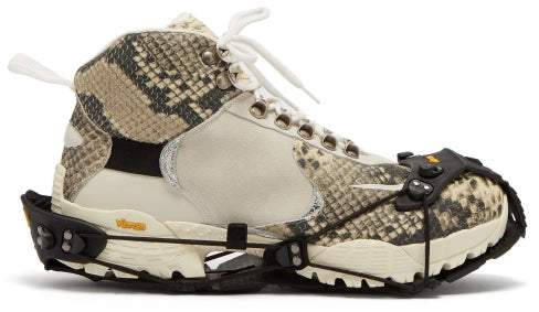 Alyx High Top Python Effect Hiking Boot Trainers - Mens - White Multi