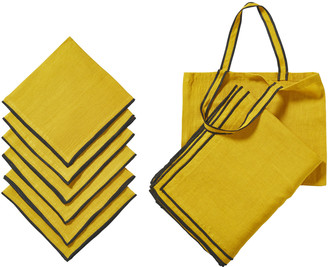 OKA Tarifa Tablecloth, Napkins & Tote Bag Set - Mustard