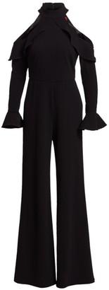 ML Monique Lhuillier Cold-Shoulder Long-Sleeve Ruffle Jumpsuit