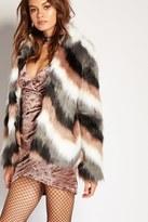Forever 21 Chevron-Pattern Faux Fur Coat
