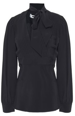 McQ Pussy-bow Pintucked Silk Crepe De Chine Blouse
