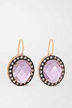 Andrea Fohrman 18-karat Rose Gold, Amethyst And Diamond Earrings - one size