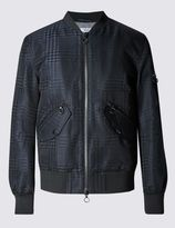 Marks and Spencer Shape Memory Prince Of Wales Check MA-1 Bomber Jacket