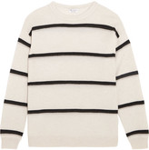 Brunello Cucinelli Embellished Striped Cashmere Sweater - Beige