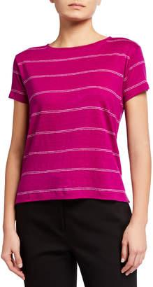 Eileen Fisher Plus Size Striped Organic Linen Jersey Short-Sleeve Tee
