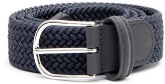 Andersons Woven Leather-trimmed Belt - Dark Grey