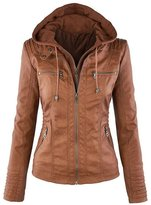 Roundshop Women's Fashion Hooded Faux Leather Motorcycle Jacket S