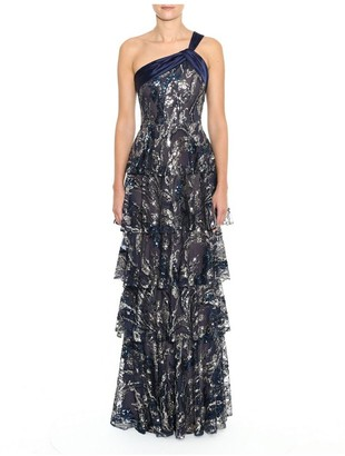 Marchesa Notte One Shoulder Embroidered Tiered Gown