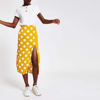 River Island Womens Yellow elasticated waist spot midi skirt