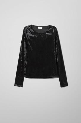 Weekday Kyra Velvet Long Sleeve - Black