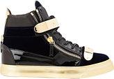 Giuseppe Zanotti Men's Plated-Strap Double-Zip Sneakers-NAVY