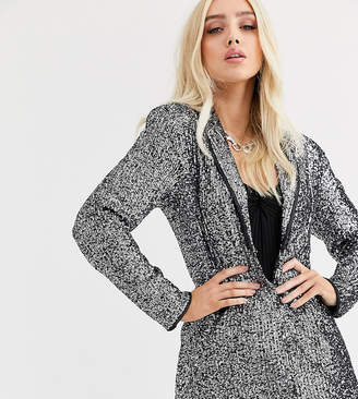 UNIQUE21 tuxedo style blazer in sequin with contrast trim two-piece-Silver
