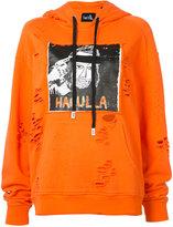 Haculla distressed logo print hoodie