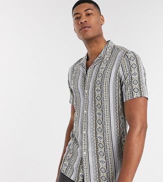 ASOS DESIGN Tall revere collar regular hawaiian shirt in black