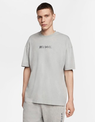 Nike Just Do It washed t-shirt in gray