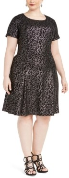 Robbie Bee Plus Size Metallic Rose-Printed Dress