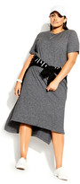 City Chic Unwind Dress - charcoal