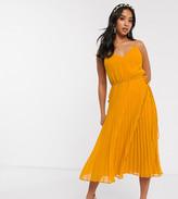 Asos DESIGN Petite pleated cami midi dress with drawstring waist