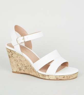 New Look Wide Fit Leather-Look Cork Wedges