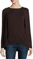philosophy Crewneck Capelet Sweater, Chocolate