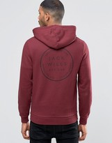 Jack Wills Hoodie With Back Print In Damson Exclusive
