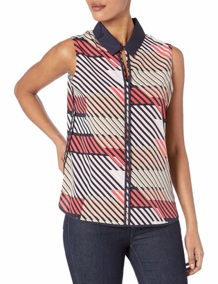 Tommy Hilfiger Women's Geo Print Piped Keyhole Sleeveless Top