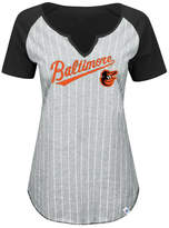 Majestic Women's Baltimore Orioles From The Stretch Pinstripe T-Shirt