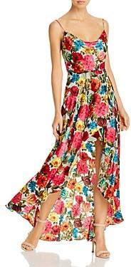 Alice + Olivia Christina Floral Burnout High/Low Dress