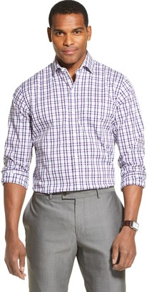 Van Heusen Men's Traveler Classic Fit Stretch Plaid Stretch