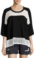 Public School Lati Drop Shoulder Combo-Knit Sweater, Black