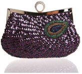 LucyZ Women's Folk Style Beaded Peacock Wallet Party Evening Wedding Cocktail Handbag Clutch Bag